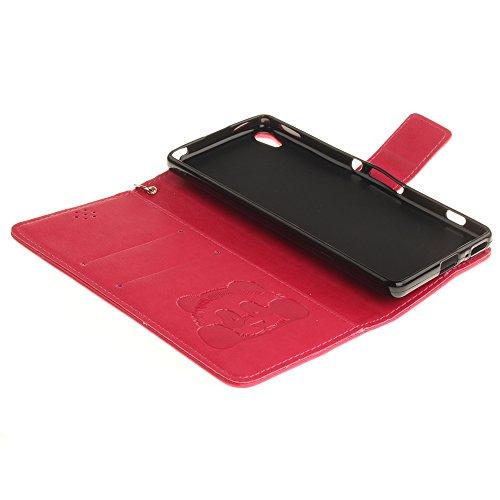 Coque iPhone 6,Coque iPhone 6s,portefeuille cas pu étui en cuir et la prime du titulaire de la carte Marron Rouge