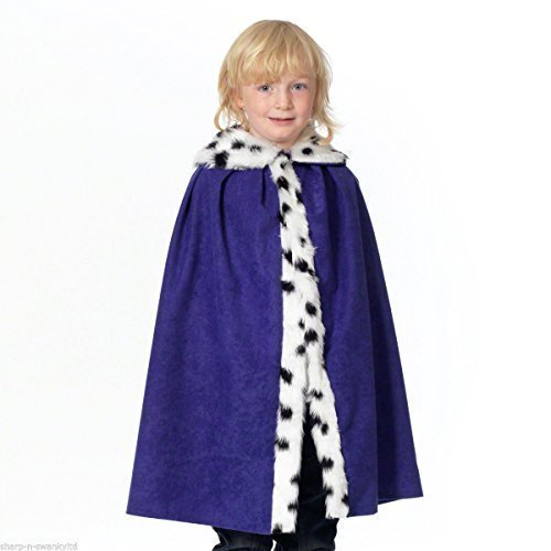 Child's Boys Girls Deluxe Royal King, Queen, Samt, Kostüm Umhang Weihnachtskrippe Outfit