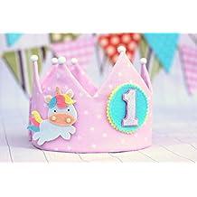 b9dfa21f0 Corona de cumpleaños unicornio personalizada