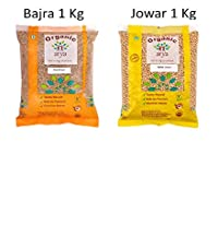 Arya Farm Certified Organic Bajra (Pearl Millet) 1 Kg Jowar White 1 Kg (Sorghum) Combo (Whole Seeds/Produced Without Using Chemicals and Pesticides/No Preservatives)