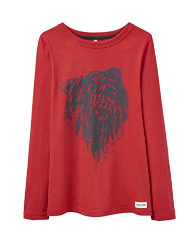 TOM JOULE Jungen T-Shirt Langarm Rot Grizzly Bär Baumwolle - Größe: 134/140 (9-10 (Bär Grizzly Kinder)