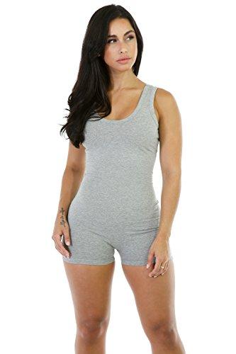Qissy® Femmes Backless Sexy Sans Manches Sport Bodysuit Barboteuses Vêtements de Yoga Sports Rompers Gris