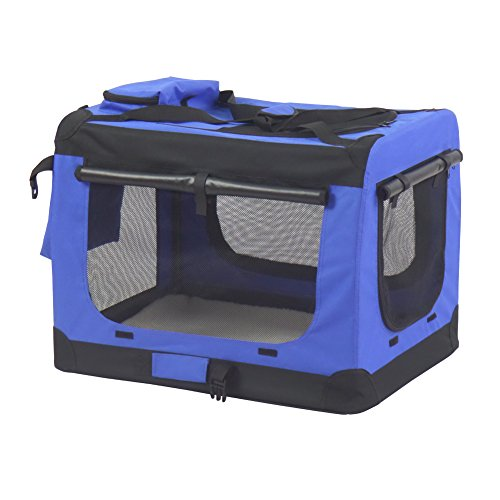 Hunde Transportbox Hundebox faltbar Reisebox Transporttasche für Haustiere, weiche Seitenteile ,Maße auswählbar- M,60 x 42 x 42 cm,Blau
