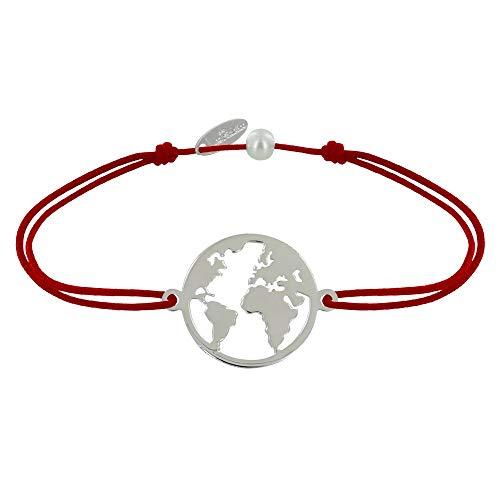 Schmuck Les Poulettes - Armband Link Silber Runde Medaille Weltkarte - Rote -