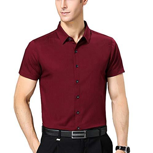 Nutexrol Herren Kurzarm Hemd für Business Hochzeit Freizeit Einfarbig Bügelfrei Weinrot S - Button-down Polo Shirt Gestreift