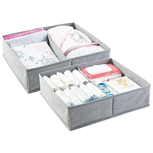 mDesign 2er-Set Baby Organizer - kleine Aufbewahrungsbox mit 2 Fächern - aus atmungsaktivem Polypropylen - perfekt für einen sortierten Wickeltisch - auch zur Spielzeug Aufbewahrung geeignet - grau