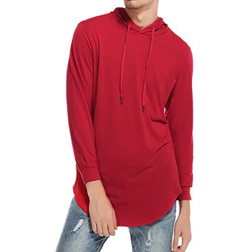 l Kapuzen Solide Langarm-T-Shirt Top Hoodie Bluse(L,Rot) ()