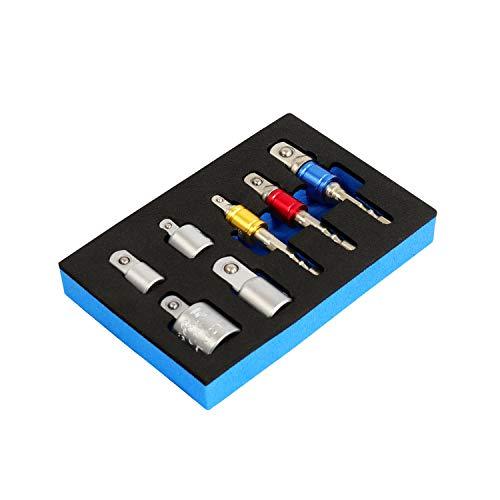 2. Plateado 7 pz S/&R Adaptadores para llaves de vaso hexagonal a cuadrado para taladros y destornilladores