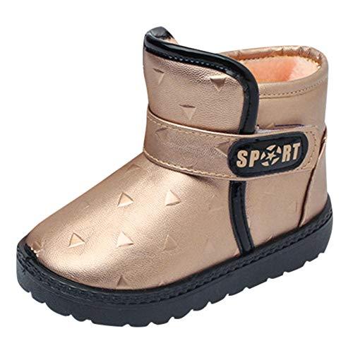 (Beikoard Kinder Herbst Winter Warm Mode Kinder Mädchen Jungen Studenten Schneeschuhe Rutschfeste Stiefel, warme Schuhe Kinderschuhe Plus Samt (Braun, 34))
