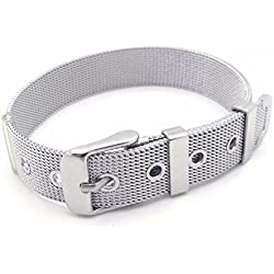 BODYA Rock Men Handsome Straight End mesh met Watch Strap Belt Silver Plated Bracelet band 10mm