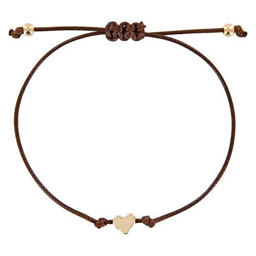 StarAppeal Herz Freundschaftsarmband, Armband mit Perlen in Silber und Gold mit hochwertiger Wachsschnur gefertigt, Damen, Mädchen Armband (Braun-Gold)