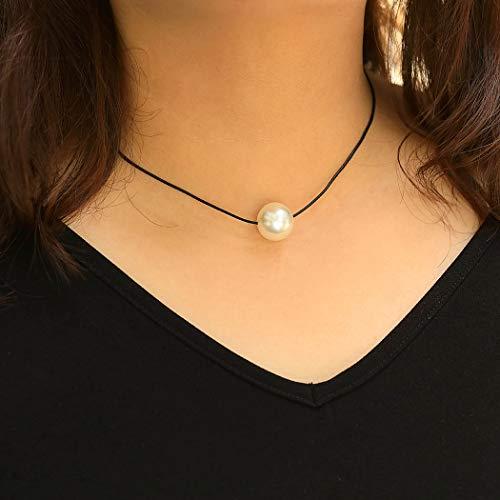 Einfach Boho Halskette Pearl Black Anhänger Halskette Kettenschmuck für Frauen und Mädchen