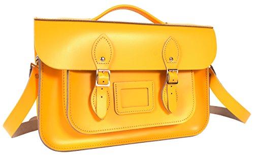 35.56 cm, gelb, Englisch, Magnetverschluss, Aktentasche, Umhängetasche Retro Bag (Buckle Handtasche Satchel)