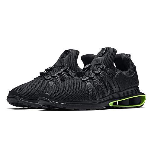 NIKE Men's Shox Gravity Nylon Running Shoes (Black/Black/Black/Green Strike, 10.5 D(M) US)