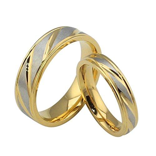 Gnzoe Schmuck, Edelstahl Ringe Gr.57(18.1) Gold Silber Trauringe Heiratsantrag Band Für Damen