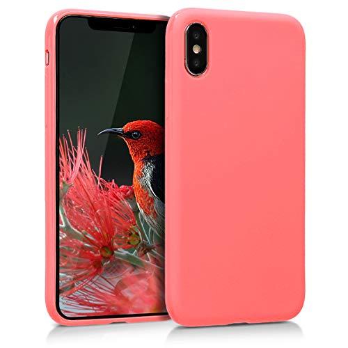 kwmobile Apple iPhone X Hülle - Handyhülle für Apple iPhone X - Handy Case in Neon Koralle matt