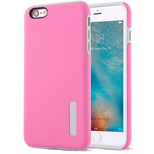 """iPhone 6S Plus Coque, HICASER Anti-choc Silicone Dual Layer Hybride Case TPU et PC [Full-Body] Protection Etui pour iPhone 6 Plus/6S Plus 5.5"""" Blanc Rose"""