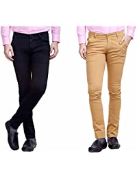 Nimegh Black and Wine Color Cotton Casual Slim fit Trouser For Men's (Pack Of 2)