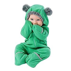 Mitlfuny Niños Niñas Felpa Monos Mameluco con Pie de Manga Larga para Bebés Invierno Caliente Grueso con Capucha… 8