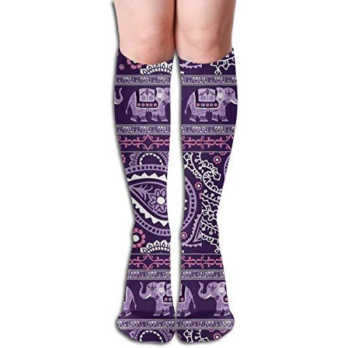Diseños de elefantes retro Calcetines largos con mezcla elástica Calcetines altos de...