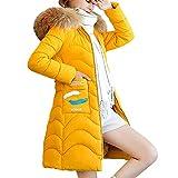 UJUNAOR Damen Hoodie Mantel Reißverschluss Langarm Baumwolljacke Dicker Jacke Winter(Gelb,EU L/CN XL)