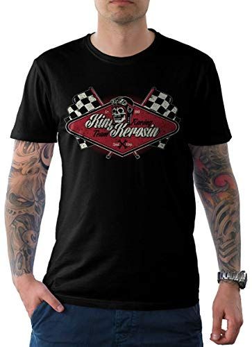 King Kerosin Herren T-Shirt Tee Schwarz Hotrod US Muscle Car Edition 09-Racing Team XL -