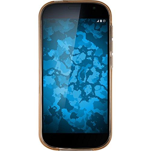 PhoneNatic Case kompatibel mit Yota Yotaphone 2 - Gold Silikon Hülle transparent + 2 Schutzfolien