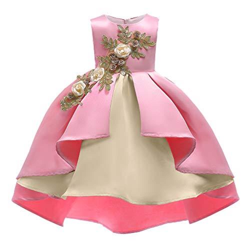 b-commerce Prinzessin Kleider für Mädchen, Baby Mädchen Geburtstag Hochzeit Kleid Prom Ballkleid Brautjungfer Pageant Prinzessin ärmellose Blumenkleider Zip Back Fashion Swing Dress -