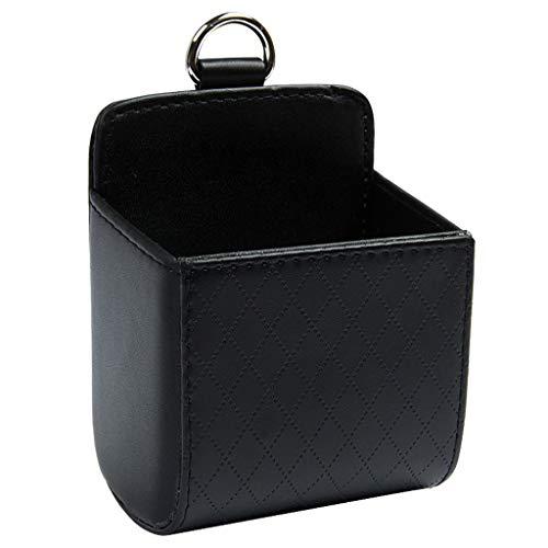 Cxp Boutiques -Kofferraumtaschen Leder Auto Air Outlet Box Solide Lagerung Eimer Handy Halter Tasche Verschleißfeste kältebeständige Anti-Aging (Color : Black)