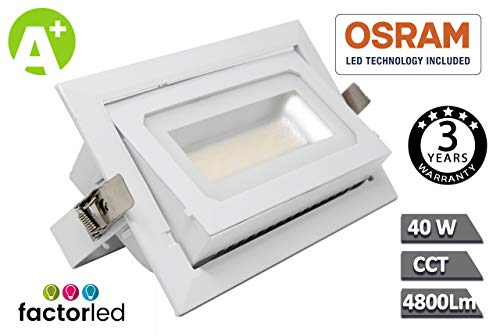 FactorLED Foco Proyector LED 40W Osram Chip, Rectangular 120º, Empotrable, Iluminación Interior,...