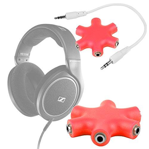 DURAGADGET Divisor De Auriculares Rojo Para Auriculares Sennheiser HD 598 | Aukey EP-B26 | NUBWO S1 Bluetooth 4.1 | Sunvito 4 en 1 - ¡¡Conecte Hasta 6 Auriculares A La Vez Y Comparta Su Música!