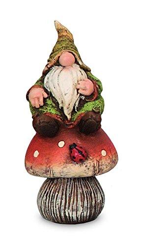 Deko Figur Wichtel Zwerg mit Knollnase auf Fliegenpilz aus Polystein grün rot, 12,5 cm groß, witzige Gartenfigur Gartenzwerg für den Garten