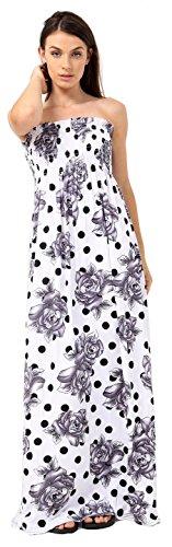 Crazy Girls Womens Bandeau Boobtude Versammelten Sheering trägerlosen Long Maxi Kleid (S/M-EU36/38, Black Floral Print) -