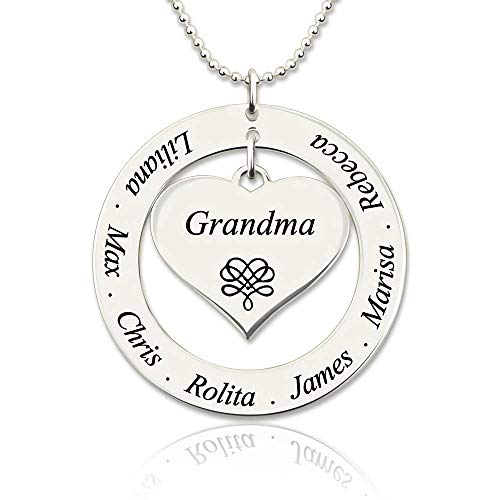 Grancey 925 Sterling Silber Personalisierte Familiennamen Halskette für Oma in Weihnachten - Ring und Herzform Halskette eingraviert 7 Namen für Frau Ehefrau