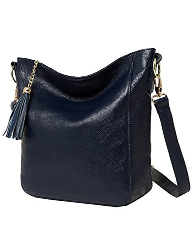 Menschwear Damen Echtes Büffel Leder Schulter Tasche handtasche Cross-Body Tasche Braun Blau