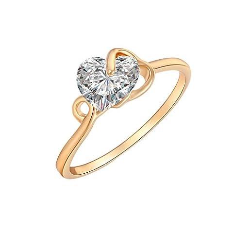 YAZILIND 18K en forme de coeur élégant plaqué or Bague style princesse strass Crystal blanc Vivid6.5