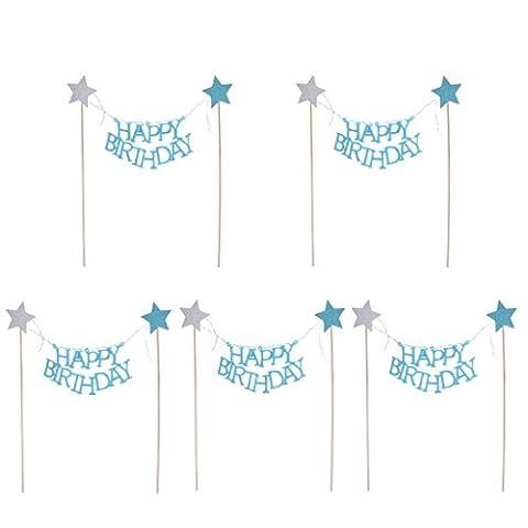 Gazechimp 5pcs Topper de Cupcake Petit Gâteau Motif Happy Birthday Etoile Bannière pour Anniversaire - Bleu du lac