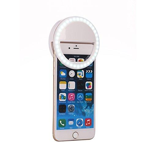 36 LED Selfie Licht Ring Fotolicht Selfie Enhancing Nacht Front Kamera Licht für Smartphones und Tablets mit 3 Ebene Helligkeit (White)