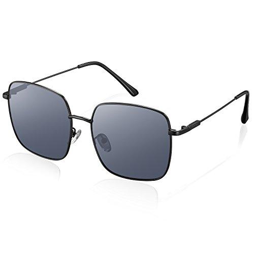 Sonnenbrille, rezi Polarisierte Sonnenbrillen für Männer Frauen,  mit UV400  und Unzerbrechliche Edelstahlrahmen mit Verstellbaren Silikon Nasenpads zum Fahren, Angeln, Reisen, Mode-Accessoires