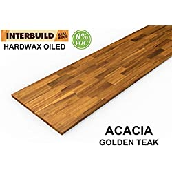 Plans de Travail en Bois Massif Acacia Interbuild, 2200x635x26 mm, Teck doré, 1 pièce/Paquet