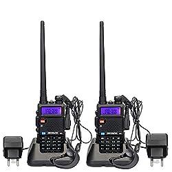 Retevis RT5R Funkgerät Walkie Talkie Set 128 Kanäle FM Radio Dualband 2m/70cm Funkgeräte Wiederaufladbar Lange Reichweite Funkgerät mit Headset Amateurfunk (1 Paar, Schwarz)