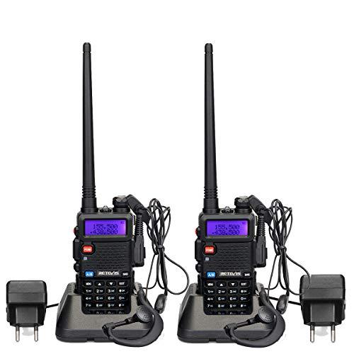 Retevis RT5R Walkie Talkie Profesional Doble Banda 5W 128 Canales Alcance de hasta 5 KM DTMF Radio FM VOX CTCSS/DCS Transmisores-receptores Radio Bidireccional con Auricular (Un par, Negro)