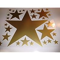 Bügelbild, Motiv: Sterne, Farbe: gold, Setgröße: maxi, heißsiegelfähige Flexfolie