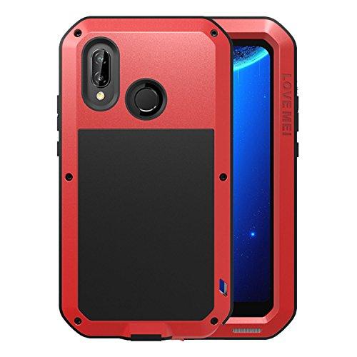 Simicoo Huawei P20 Lite Aluminium gehäuse Hybrid Metall Hülle Stoßfest Schutz Bumper Militär Starkes Silikon Schraube Gorilla Glas staubdicht stoßen Heavy Duty Handyhülle für P20 Lite (Red)