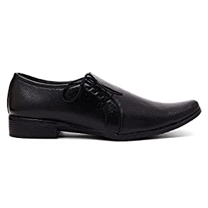 AXONZA Men's Side lace Office/Party wear black Faux leather formal shoes
