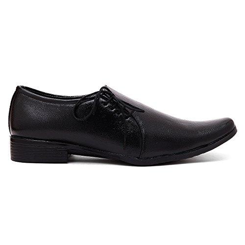AXONZA Men's Side lace Office/Party wear black Faux leather formal shoes