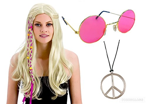 seemeinthat 1960's Hippy Woodstock Festival Blonde Wig Shades Glasses Peace Necklace