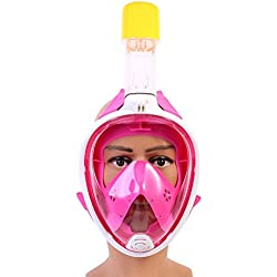 GRH Silicon Full Face Masque de Plongée sous-Marine Seaview Gear Natation Snorkel Masque pour Gopro Caméra Support Stand Set (Color : Red, Taille : S)