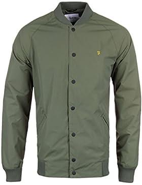 Farah Vintage Hombre Bellinger SNPCF Popper chaqueta de bombardero, Verde