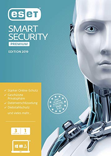 ESET Smart Security Premium 2019 | 3 User | 1 Jahr Total Protection & Virenschutz | Windows (10, 8, 7 und Vista) | Download | Standard  |  3 User  |  1  |  PC/Mac  | Online Code